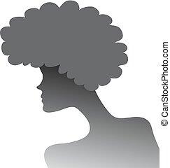 profil, soczysty, włosy, sylwetka, dziewczyna