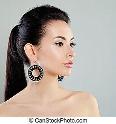 profil, sprytny, kobieta, makijaż, fason, earrings., wzór