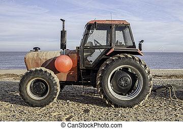 profil, strand, traktor, röd