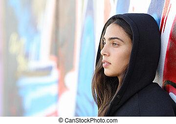 profil, style, adolescent, patineur, portrait, girl