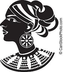 profil, style, africain femelle