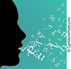 profil, svart kvinna, talande