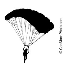 profil, sylwetka, niebo, bok, spadochron, otwarty, nurek