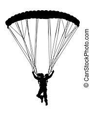 profil, sylwetka, niebo, spadochron, przód, otwarty, nurek