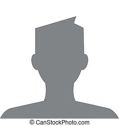 profil, szary, kolor, nowoczesny, włosy, avatar
