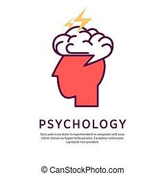 profil, tête, concept, psychologie, cerveau, vecteur, humain, portrait, ouvert, illustration.