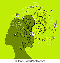 profil, tête, femme, silhouette