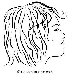 profil, tête, ligne, femme, dessin