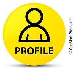 profil, taste, gelber , icon), (member, runder