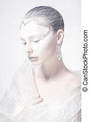 profil, teatralny, kobieta, karnawał, makijaż, -, twarz, muse., twórczy, style.