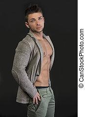 profil, torso, ung, muskulös, jacka, öppna, man