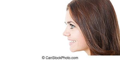 profil, uśmiechanie się, młody, samica, odizolowany