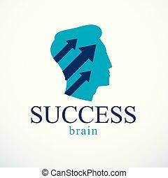 profil, uppe., huvud, ikon, framgångsrik, concept., pilar, ...