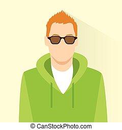 profil, usure, mâle, personne, avatar, portrait, icône, désinvolte, lunettes