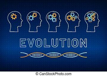 profil, utveckling, begrepp, gear huvud, hjärna
