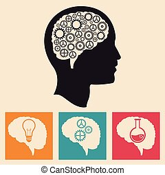 profil, utveckling, huvud, ikonen, hjärna, utrustar