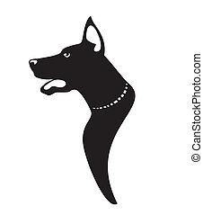profil, vektor, hunde ikone