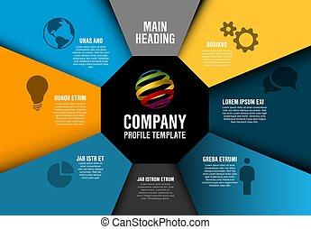 profil, vektor, selskab, diagram, infographic, skabelon