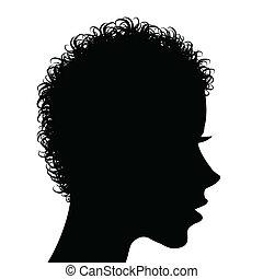 profil, włosy, kobieta, kędzierzawy