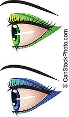 profil, yeux
