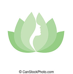 profil, zeseed, kvinde, blomst, lotus