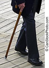 profile, носить, гулять пешком, тростник, старый, дно, пожилой, темно, человек, suit., дерево, придерживаться, половина, или, человек
