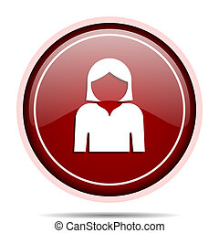 Profile avatar red glossy round web icon. Circle isolated internet button for webdesign and smartphone applications.