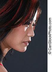 Beautiful Asian woman in Side View