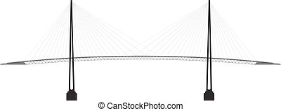 profile cable-stayed bridge - black and white profile cable...