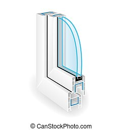 profile., cadre, deux, illustration, plastique, fenêtre, vecteur, verre., transparent, structure