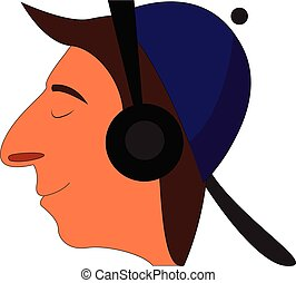 Profile cartoon of a smiling boy with purple cap and black headphones vector illustration on white background