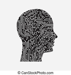 profile circuit over white background vector illustration