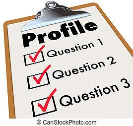 Profile Clipboard Checklist Questions Asking Personal Data...