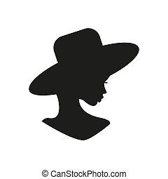 profile., donna, giovane, ritratto