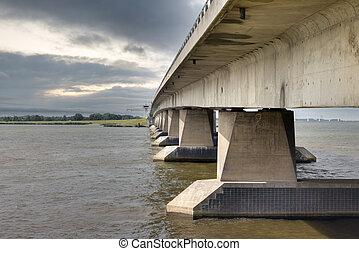 Profile Dutch concrete bridge between Flevoland and Noordoostpolder