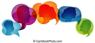 profile., emberek., information., társadalmi, beszél, bubble...