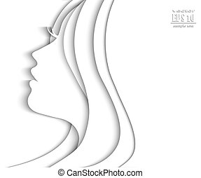 Profile face of beautiful young woman