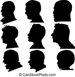 Eight men and one child's profile in the vector.