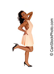 profile., femme américaine, heureux, africaine