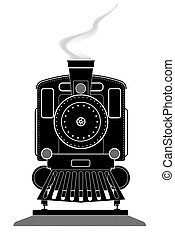 Profile front view of an old locomotive on rails. Black and white vector.