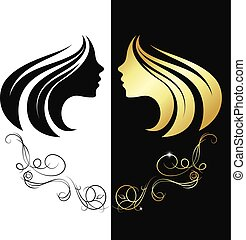 Profile girl gold color silhouette