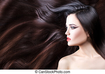 Profile girl in her hair.