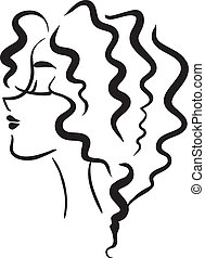 Profile girl with wavy hair - The vector monochrome picture...