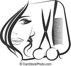 Profile girls for beauty and hair salon with scissors and...