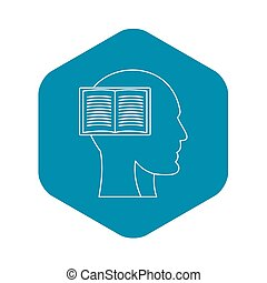 Profile head with book icon, outline style