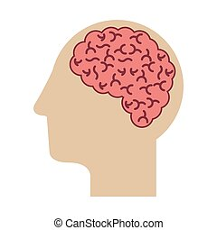 profile head with human brain