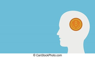 profile human with bulb and bitcoin ecommerce animation...