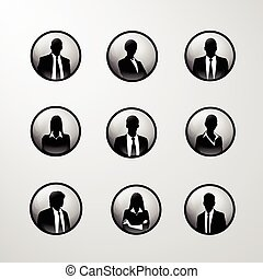 profile icon business set male and female portrait...