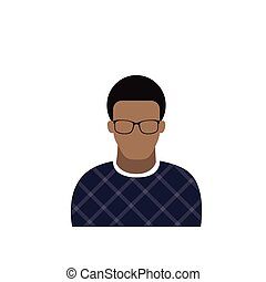 Profile Icon Male Avatar Man, African American Cartoon Guy Portrait, Casual Person Silhouette Face