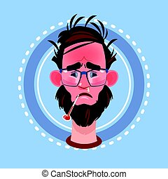 Profile Icon Male Emotion Avatar, Man Cartoon Portrait Feeking Sick Face